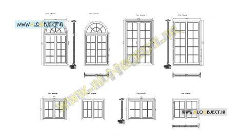 بلاک اتوکد پنجره کلاسیک