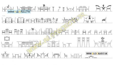 بلاک اتوکد میز و صندلی ها
