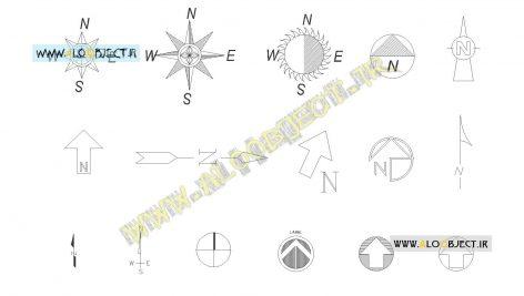 بلاک اتوکد نمادهای جهت شمال
