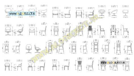 بلاک اتوکد مجموعه صندلی ها