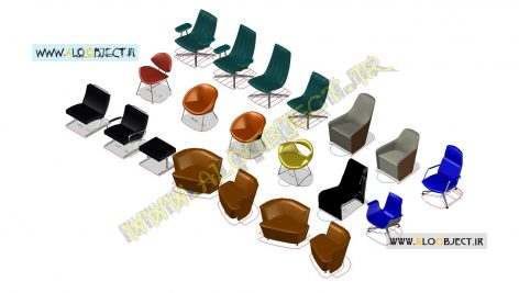 بلاک اتوکد صندلی تک 3 بعدی