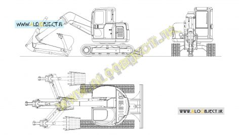 بلاک اتوکد بیل مکانیکی کوبلکو SK75UR