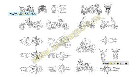بلاک اتوکد مجموعه موتورسیکلت ها