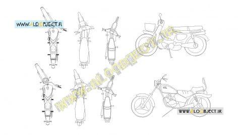 بلاک اتوکد موتور سیکلت ها