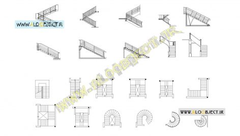 بلاک اتوکد پله های رایج