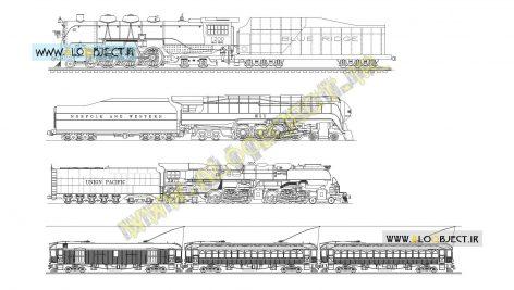 بلاک اتوکد انواع ترن و قطار