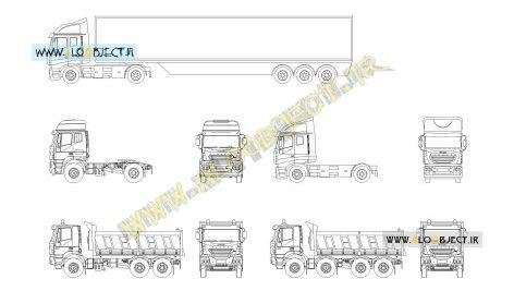 بلاک اتوکد کامیون و تریلی