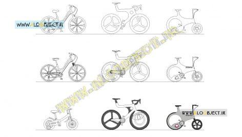بلاک اتوکد دوچرخه های شهری