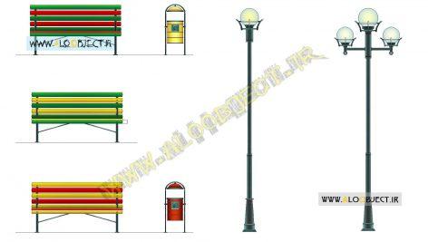 بلاک اتوکد چراغ و مبلمان شهری