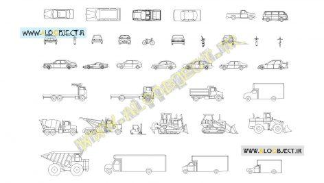 بلاک اتوکد مجموع وسایل نقلیه
