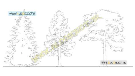 بلاک اتوکد درختان کاج